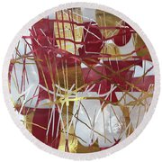A Dance Of Rubies And Old Gold Round Beach Towel