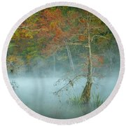 Round Beach Towel featuring the photograph A Dancing Cypress by Iris Greenwell