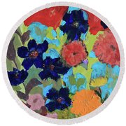 Round Beach Towel featuring the painting A Dandelion Weed Making It's Way In The Garden by Robin Maria Pedrero