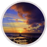 Round Beach Towel featuring the photograph A Dark Cloud Among Colour by Tara Turner