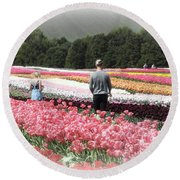A Day Amongst The Tulips Round Beach Towel