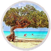 Round Beach Towel featuring the photograph A Day At Eagle Beach by DJ Florek