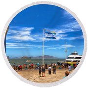 Round Beach Towel featuring the photograph A Day At Pier 39 by John M Bailey