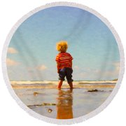Round Beach Towel featuring the painting A Day At The Beach by Chris Armytage