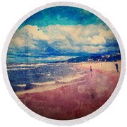 Round Beach Towel featuring the photograph A Day At The Beach by Phil Perkins