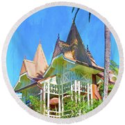 Round Beach Towel featuring the photograph A Day In Adventureland by Mark Andrew Thomas