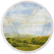 A Day In Autumn Round Beach Towel