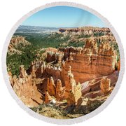 Round Beach Towel featuring the photograph A Day In Bryce Canyon by Margaret Pitcher