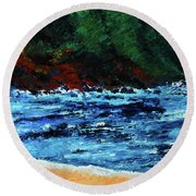 A Day At The Lake In Austin Texas Round Beach Towel