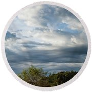 Round Beach Towel featuring the photograph A Day In The Prairie by Iris Greenwell