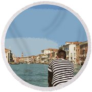 A Day In Venice Round Beach Towel