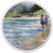 Round Beach Towel featuring the painting A Day Like This by Sandra Strohschein