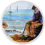 A Day With Granddad Edit Round Beach Towel