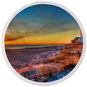 A December Beach Sunset Round Beach Towel