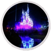 Round Beach Towel featuring the photograph A Disney New Year by Mark Andrew Thomas