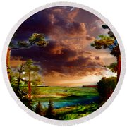 A Distant View Round Beach Towel