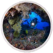 A Diver Peers Through A Coral Encrusted Round Beach Towel