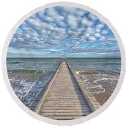 A Dock Leads To The Mediterranean Sea At The Beach Of Lido Die Jesolo, Italy Round Beach Towel