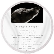 A Dog's Prayer In White  A Popular Inspirational Portrait And Poem Featuring An Italian Greyhound Round Beach Towel