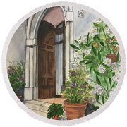 A Door In Castellucco, Italy Round Beach Towel