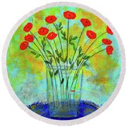 A Dozen Of Red Roses For You Round Beach Towel