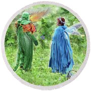 A Dragon Confides In A Fairy Round Beach Towel