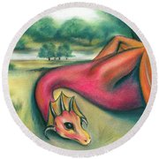 Round Beach Towel featuring the pastel A Dragon In Cheshire by MM Anderson