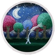 A Dream In The Forest Round Beach Towel