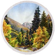 A Drive In The Mountains Round Beach Towel