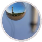 Round Beach Towel featuring the photograph A Drop Of Pigeon by Lora Lee Chapman