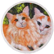 A Duet Of Kittens Round Beach Towel