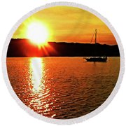 A Early Springtime Visit To Mystic Village In M Round Beach Towel