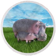 A Face Only A Momma Could Love Round Beach Towel by Betsy Knapp