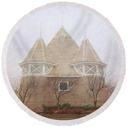 Round Beach Towel featuring the photograph A Fairytale Fog by Heidi Hermes