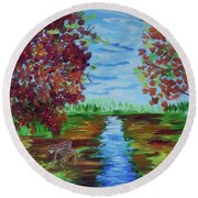 A Fall Day Round Beach Towel by Donna Brown