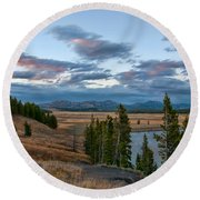 A Fall Evening In Hayden Valley Round Beach Towel by Steve Stuller