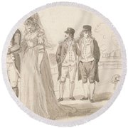 A Family In Hyde Park Round Beach Towel by Paul Sandby
