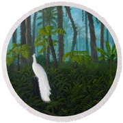 A Fantasy In White Round Beach Towel