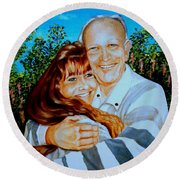 A Father And Daughter Round Beach Towel