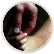 A Fathers Touch Photograph Round Beach Towel