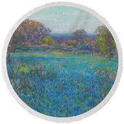 A Field Of Blue Bonnets, Late Afternoon Sunlight Round Beach Towel