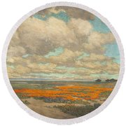 A Field Of California Poppies Round Beach Towel