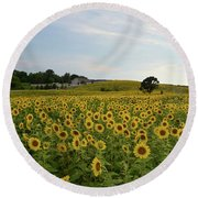 A Field Of Sunflowers Round Beach Towel