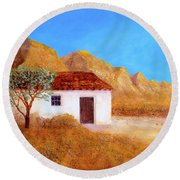Round Beach Towel featuring the painting A Finca In Spain by Valerie Anne Kelly