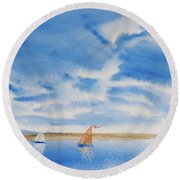 A Fine Sailing Breeze On The River Derwent Round Beach Towel