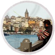 A Fisherman In Istanbul Round Beach Towel