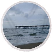 A Fishing Pier At Dawn Round Beach Towel