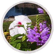 A Flower Blossoms Round Beach Towel by B Wayne Mullins