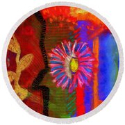 A Flower For You Round Beach Towel by Angela L Walker