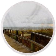 A Foggy Day Round Beach Towel